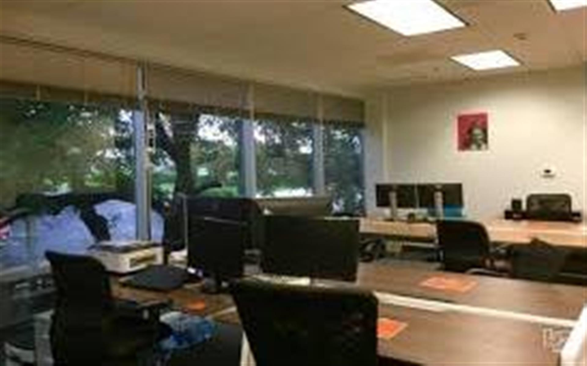 Tech Ranch - Reserved Desk Next to Floor to Ceiling Windows